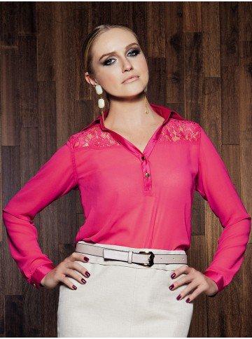 blusa feminina de renda pink karla corpo