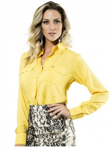 camisa manga longa amarela feminiana bel
