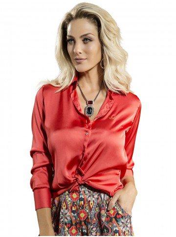 camisa manga longa vermelha de cetim feminina principessa cristina