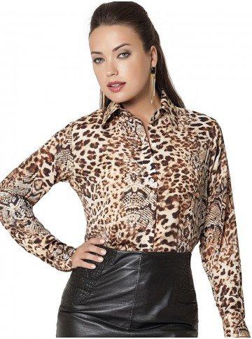 camisa feminina animal print social principessa taline corpo