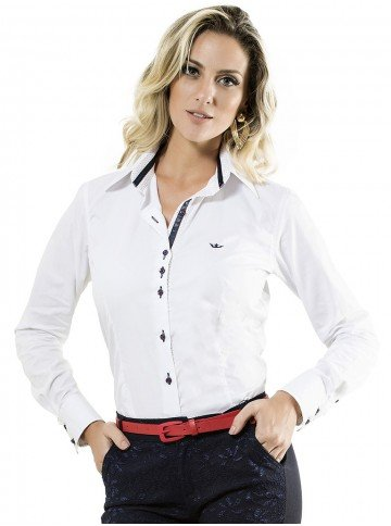 camisa branca feminina manga longa scarlet