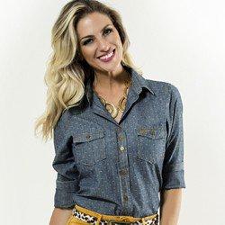 camisa feminina jeans principessa nina corpo detalhe