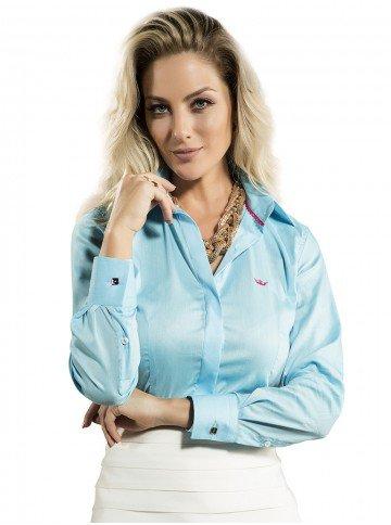 camisa social azul swarovski principessa daniele