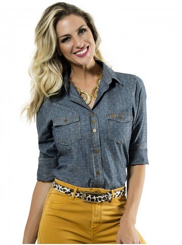 camisa jeans social principessa nina