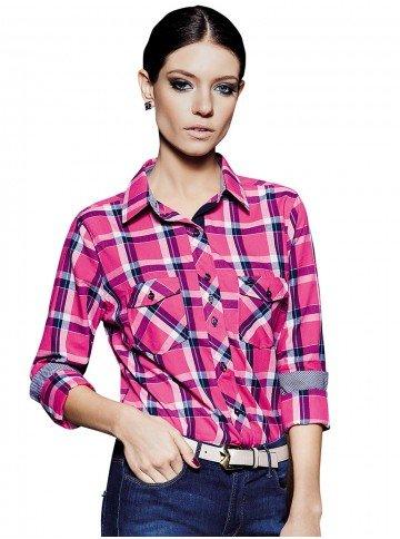 camisa feminina xadrez rosa danubia