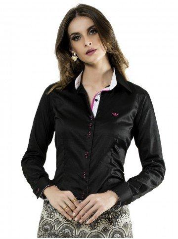 camisa social preta feminina principessa carin principal