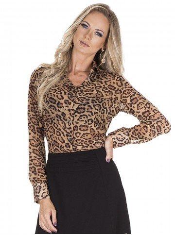 camisa feminina estampada animal print lays