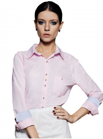 camisa rosa manga longa oxford suely