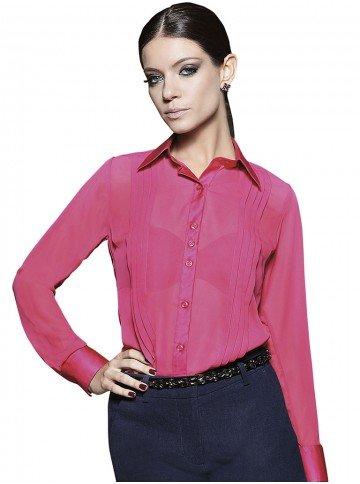 camisa feminina social rosa laiana