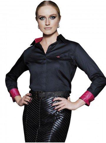 camisa social feminina preta principessa lana