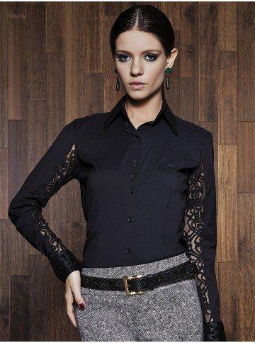 camisa feminina preta com renda elisangela