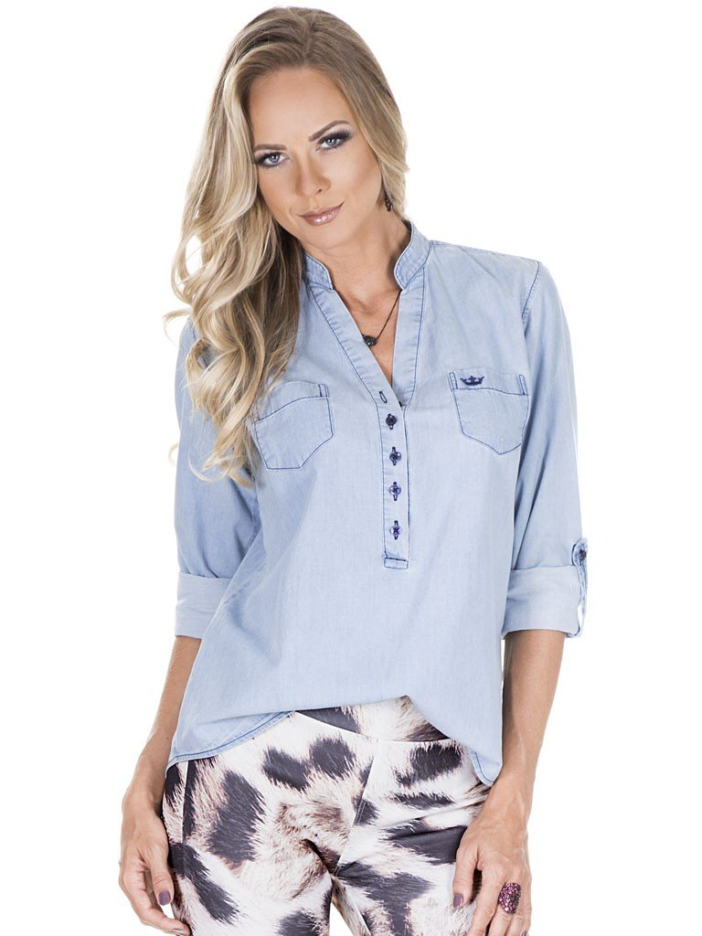 blusa jeans feminina principessa desiree frente