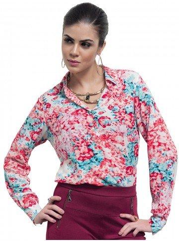 camisa social estampada floral leandra