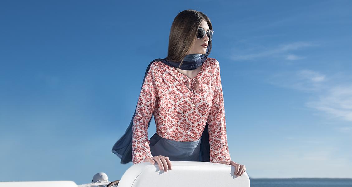 camisa feminina estampada geometrica verao