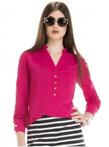 blusa social manga longa pink feminina eliza look