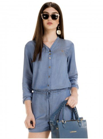 macaquinho jeans manga longa feminino thalita look metade