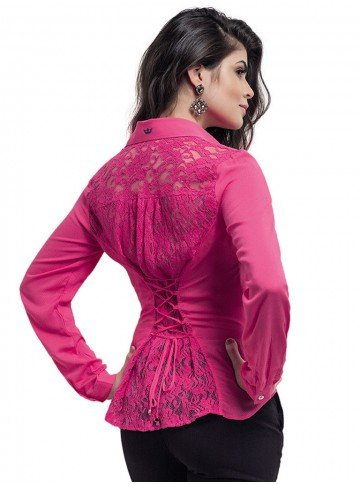camisa pink indiara renda