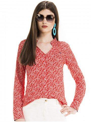 camisa social decote v vermelho floral principessa vania look