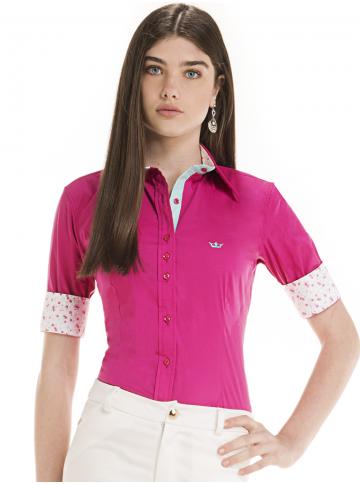 camisa feminina manga curta rosa principessa viviana look