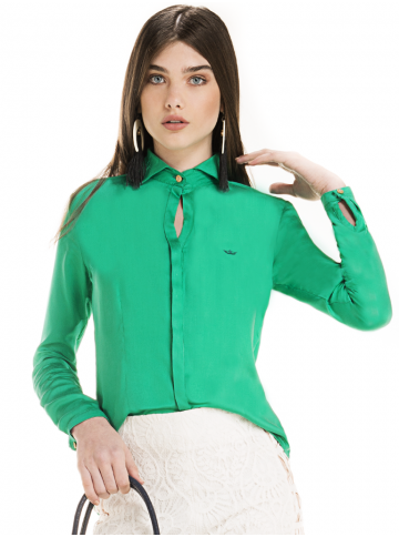 camisa social verde briana principessa manga longa look