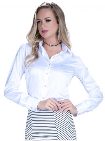 camisa social cetim branca feminina principessa aurea look