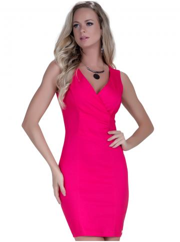 vestido tubinho social pink principessa elisangela decote transpassado look