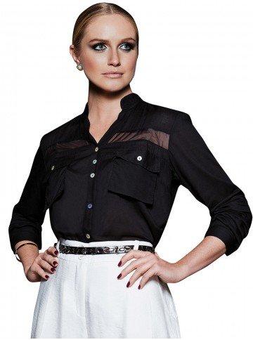 camisa feminina social preta principessa alania