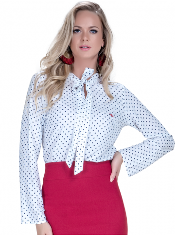 camisa social feminina com laco branca poa manga flare look