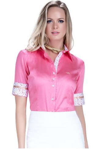camisa manga curta exclusiva social feminina principessa sineide tecido fio egipcio look