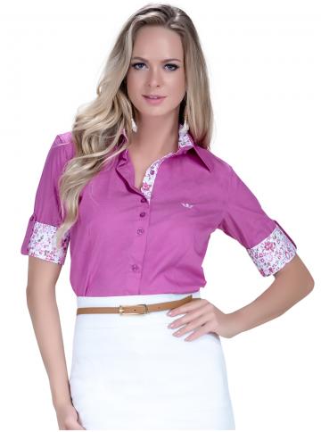 camisa manga curta social pink principessa marie detalhe look