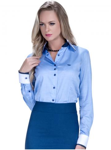 camisa social azul claro feminina principessa esther tecido fio egipcio vies punhos maquinetado look