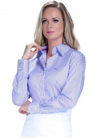 camisa classica social listrada premuim marilza botao cristal look