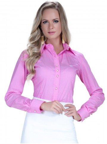 camisa premium listrado rosa social feminina principessa andrea botos perola fio egipcio colarinho alinhado modelagem