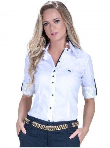 camisa manga curta social branca principessa sabine look