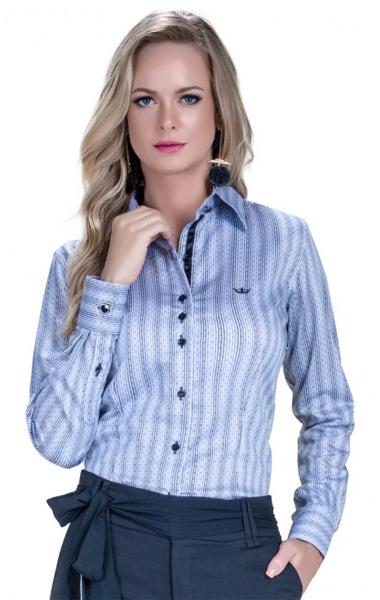 camisa feminina social listrada classica cinza jessika