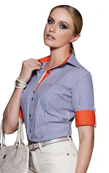camisa feminina social listrada classica marinho nalu