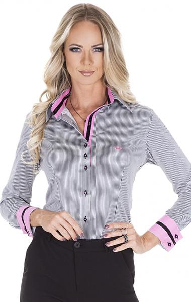 camisa feminina social listrada classica preto ana claudia
