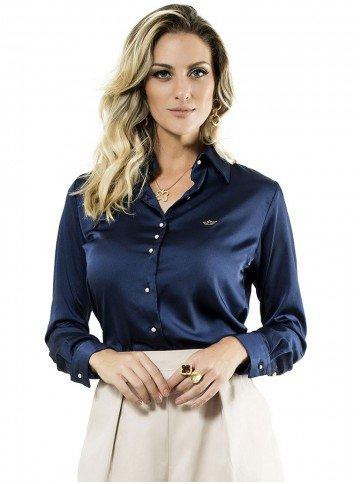 camisa feminina manga longa cetim principessa jussara azul marinho