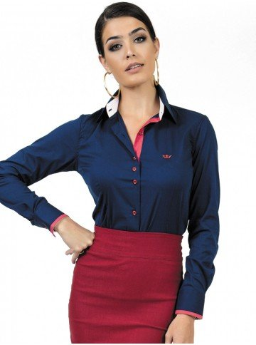 camisa social com elastano marinho principessa laurita look