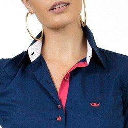 camisa social com elastano marinho principessa laurita colarinho alinhado