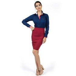 camisa social com elastano marinho principessa laurita look compre completo