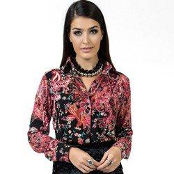 camisa estampada floral principessa eleonora detalhe look