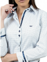 camisa social azul de poa principessa mariah detalhes