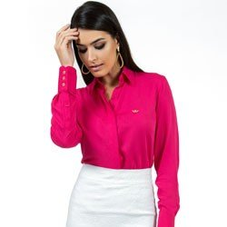 camisa feminina social pink principessa nislene detalhe look