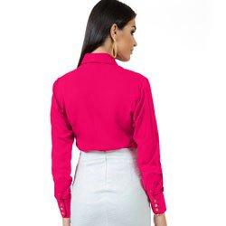 camisa feminina social pink principessa nislene detalhe modelagem