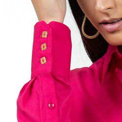 camisa feminina social pink principessa nislene detalhes