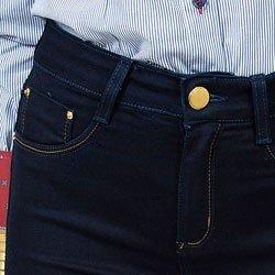 calca flare jeans escuro cintura alta dz2375 detalhe frente