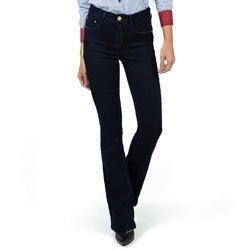 calca flare jeans escuro cintura alta dz2375 detalhe look