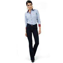 calca flare jeans escuro cintura alta dz2375 detalhe look compre completo
