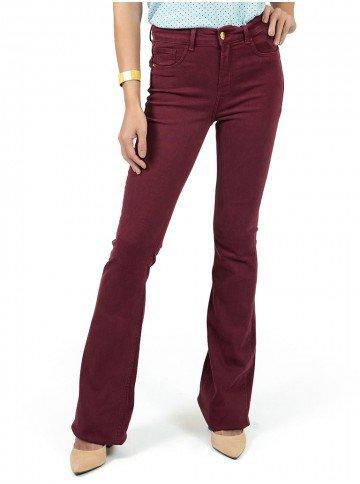 calca jeans vermelha denim principessa flare